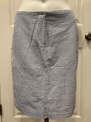 J. Mclaughlin Blue & White Seersucker Striped Pencil Skirt, Size 2