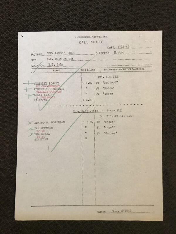 Key Largo   - Original 1948    Call Sheet -  Humphrey Bogart