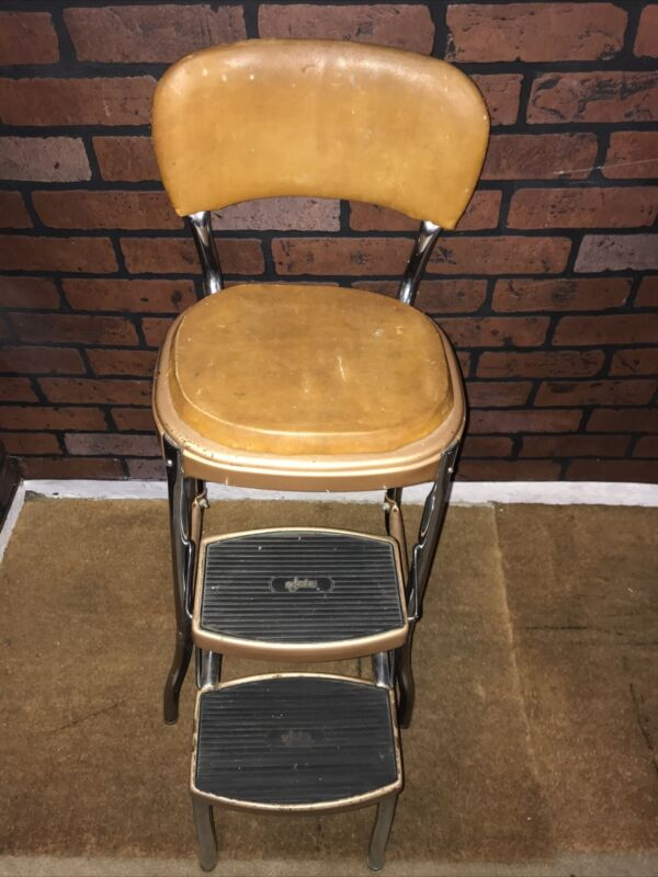 Vtg Cosco STYLAIRE Mid Century Retro Chrome Metal Kitchen Step Stool Chair GUC
