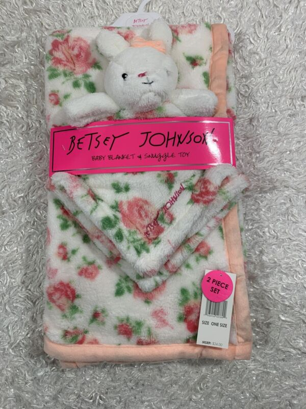 Betsey Johnson Floral Print Plush Baby Blanket And Snuggle Toy Set NWT
