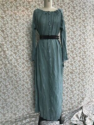 1970 Blue Indian Hippy Dress Kaftan Smock Embroidered Muslin Cotton True Vintage