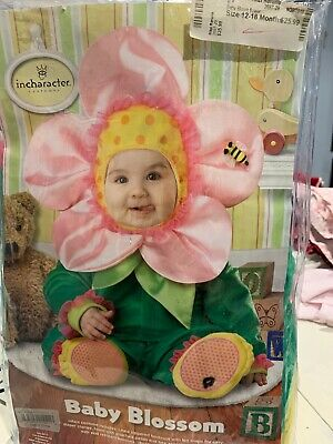 InCharacter Baby Blossom Flower Halloween Costume 12-18mo Cute Pink Green Flower