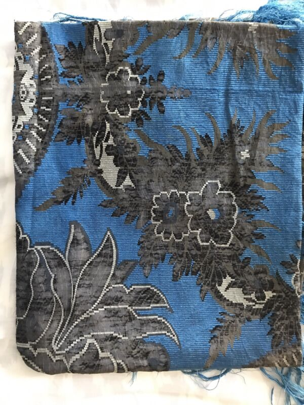Stunning Color Way Russian Antique Silk DamaskShawl Fringe Late 19thC Early 20th