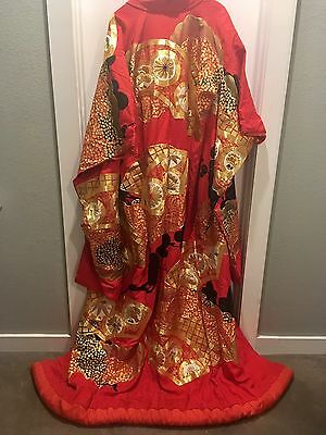 Japanese Wedding Kimono - Red Silk, Gold, Black, & White detailing