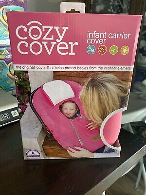 Cozy Cover Infant Carrier Cover Secure Baby Car Seat Cover Pink Cheer NEW!