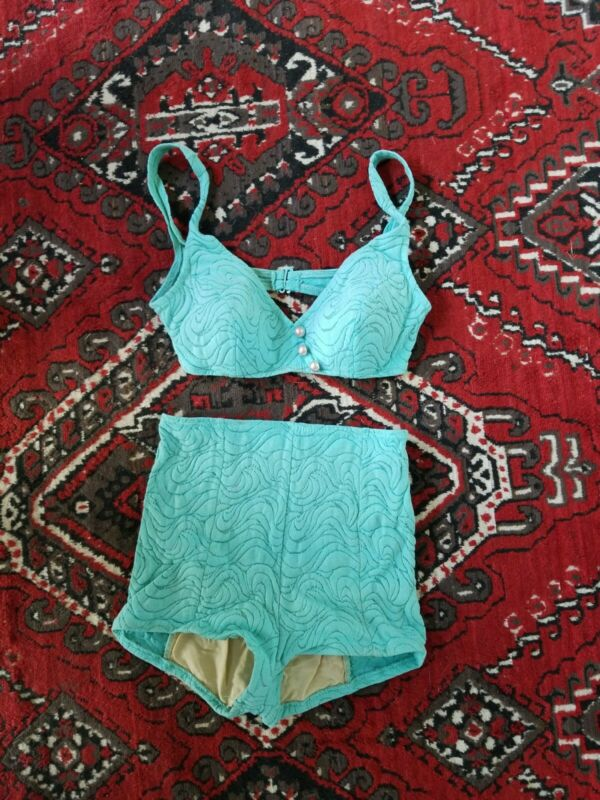 Vintage Catalina 50s 60s Swimming Bathing Suit Two Piece Blue Size 14