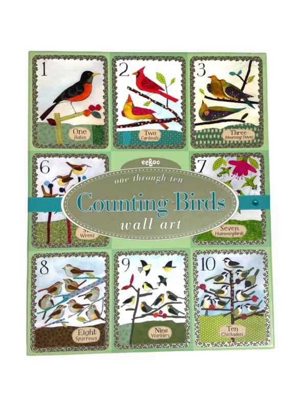 """Eeboo COUNTING BIRDS One Through Ten WALL ART, 8""""x10"""" MELISSA SWEET Illustrator"""