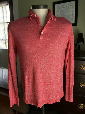 Isaia Napoli Men's Sz M Red Long-Sleeve Linen/Cotton Polo Shirt Made in Italy