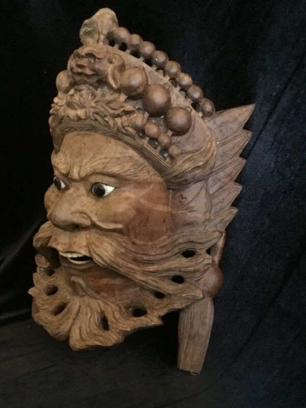 Old Carved Wood Mask Man Exquisite Detailing Glass Eyes Wood Teeth Asian Art