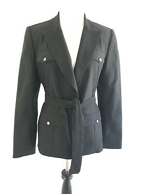 Express Womens Blazer Jacket Size 7 Stretch V-neck Long Sleeve Suits Black - Express Suits Womens