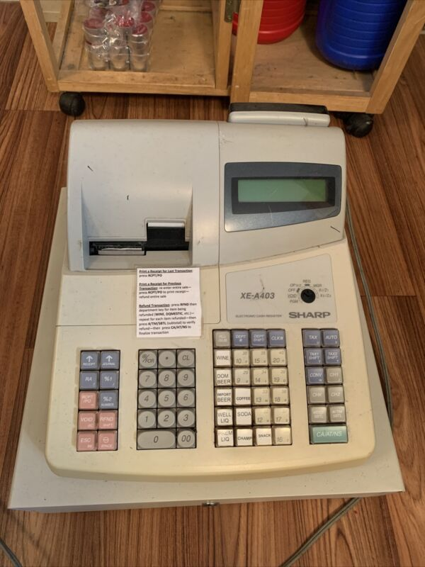 Sharp Cash Register NO KEYS XE - A403 Tested Works SEND OFFER Manual Included