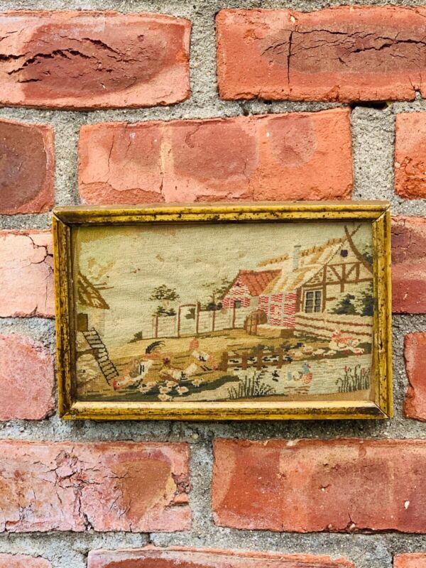 Circa 1760 American Needlework New England Farmhouse Scene In Lemon Gilt Frame