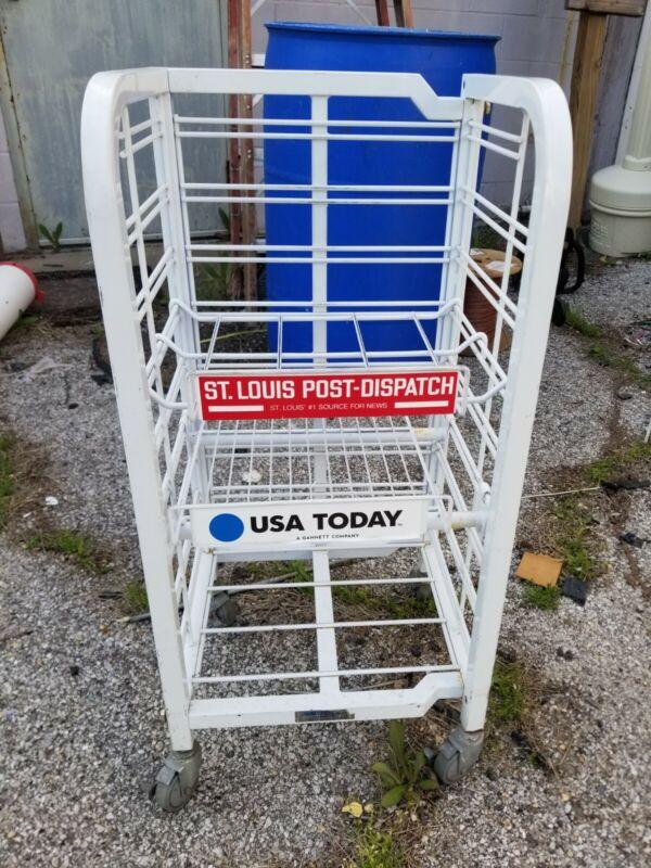 Wire Newspaper Rack Magazine Stand Display Post Dispatch USA Today Rollaround
