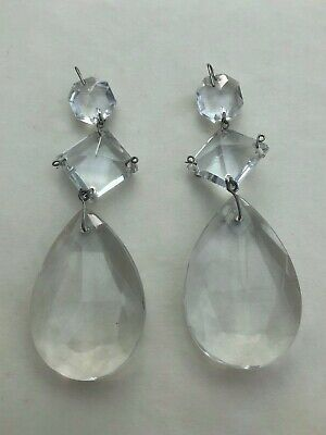 two large vintage quality cut glass chandelier droplets ( complete ) . ref 2