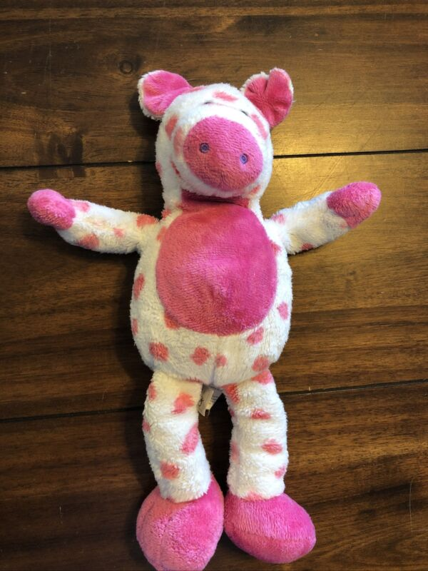 "Animal Adventure Pink Plush Polkadot Pig Stuffed Toy Bean Bag 2007 Rare 13"""