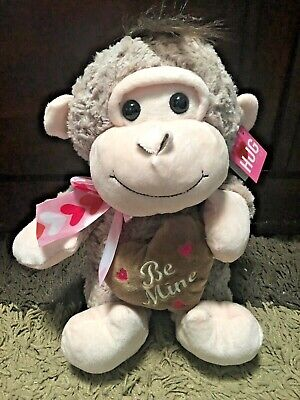 "Be Mine Baby Monkey with Heart 10.5"" Sherpa Plush Stuffed Animal Toy Valentaine"