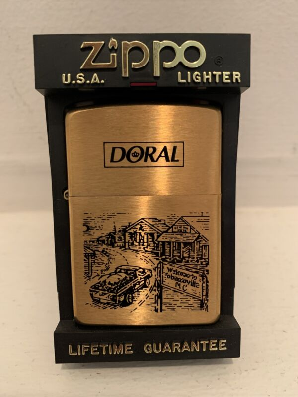 1996 Brass Zippo Doral Cigarettes WELCOME TO TOBACCOVILLE Lighters Unfired