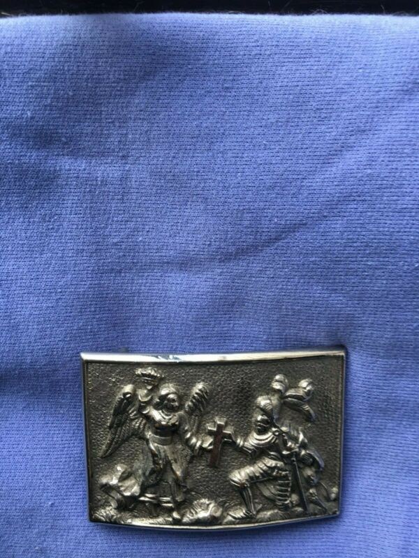 Victorian Silver Angel And Knight With Cross Belt Buckle