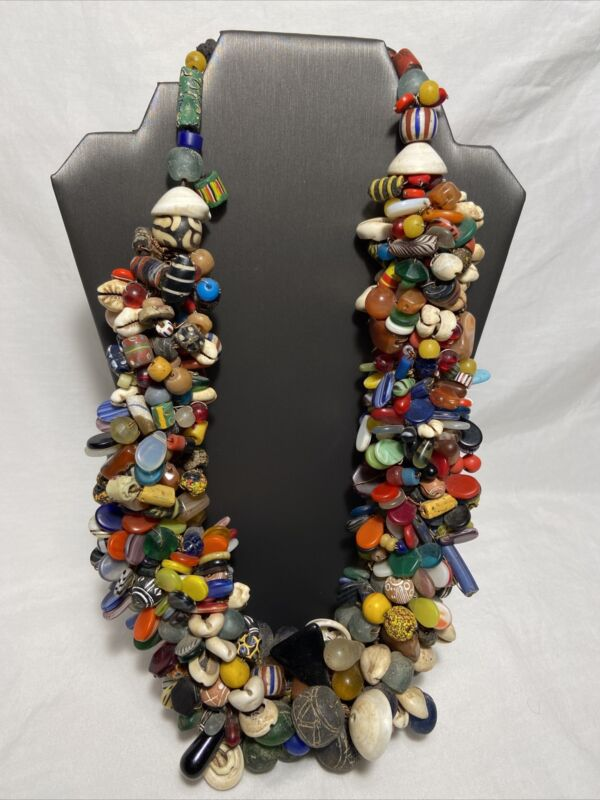 Vintage African Trade Bead Necklace Mali Wedding Jewelry HUGE Glass Seashell