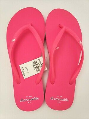 Abercrombie Kids Girls Flip Flops HOT PINK Size X-LARGE(8/9) - NEW/FREE SHIPPING