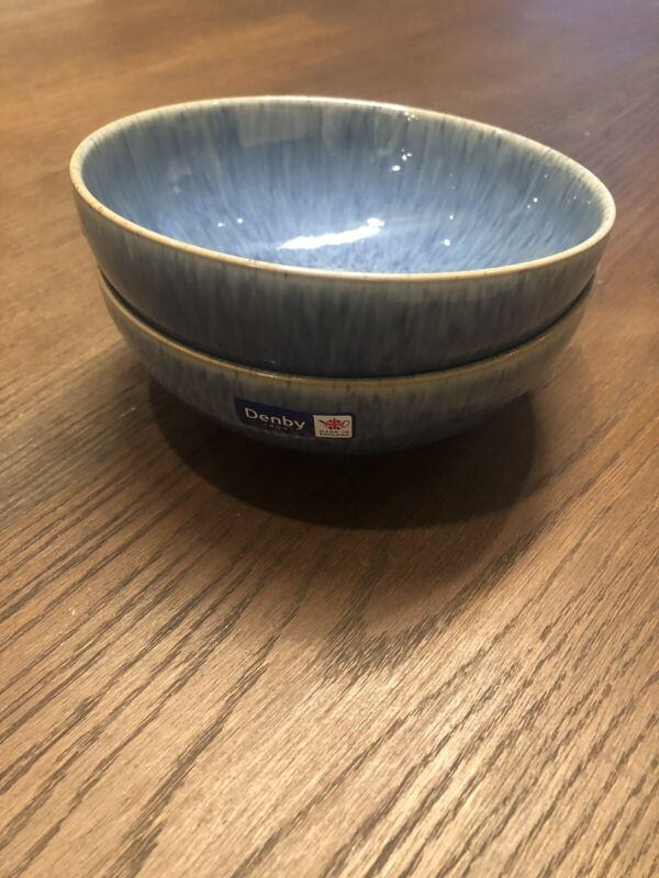 Denby England Blue Speckle Coupe Cereal Bowl NWT Set of 2