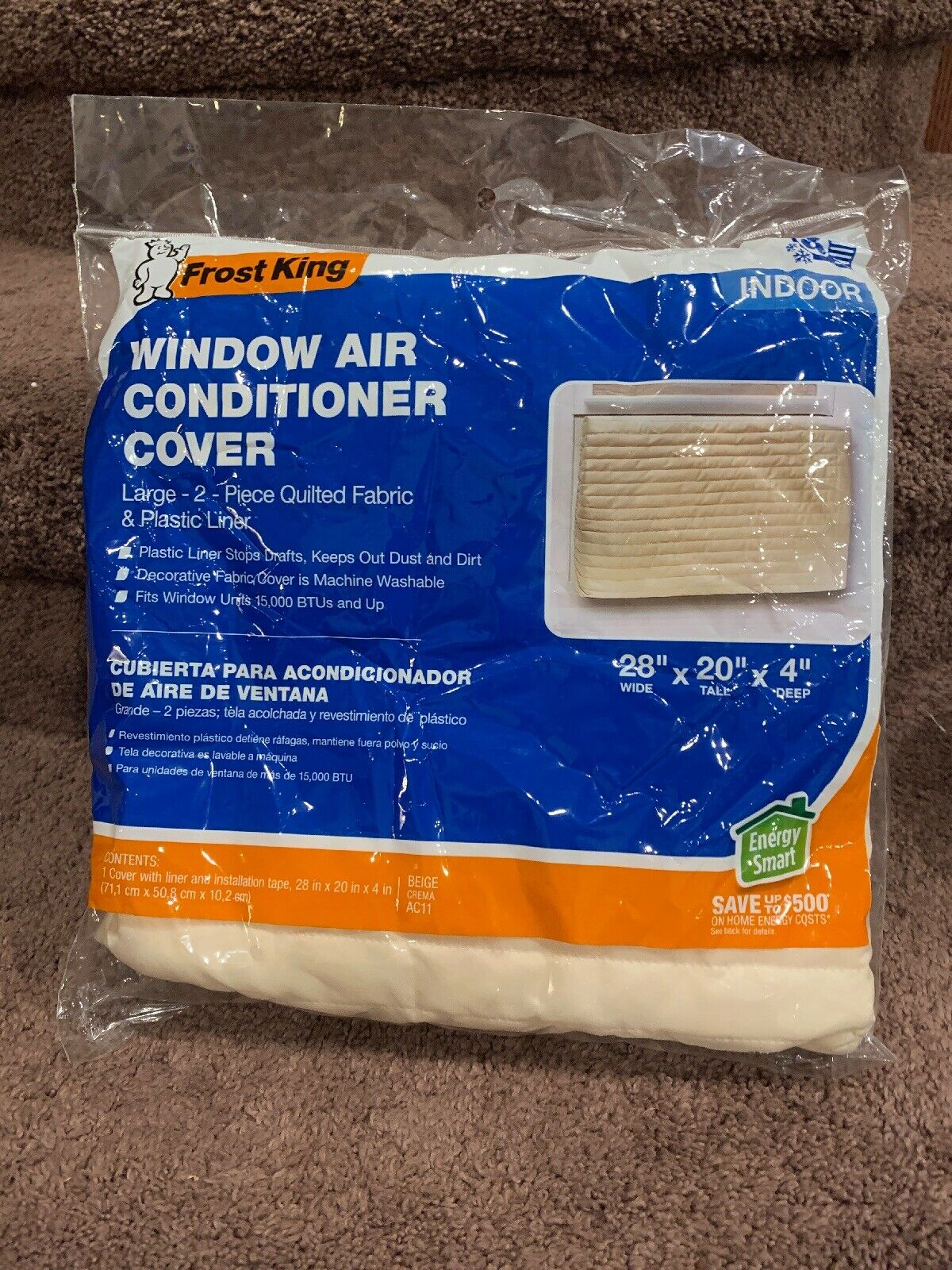 "Frost King AC11H Quilted Indoor Air Conditioner Cover, 20"" x"