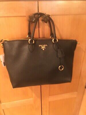 Womans Prada Medium Vitello Phoenix Top Handle Bag Made In Italy