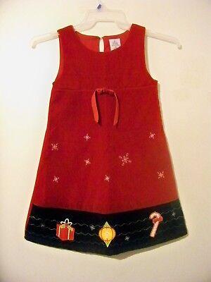 Girls Red Christmas Dress Size 6X Brushed Velour EUC!!!