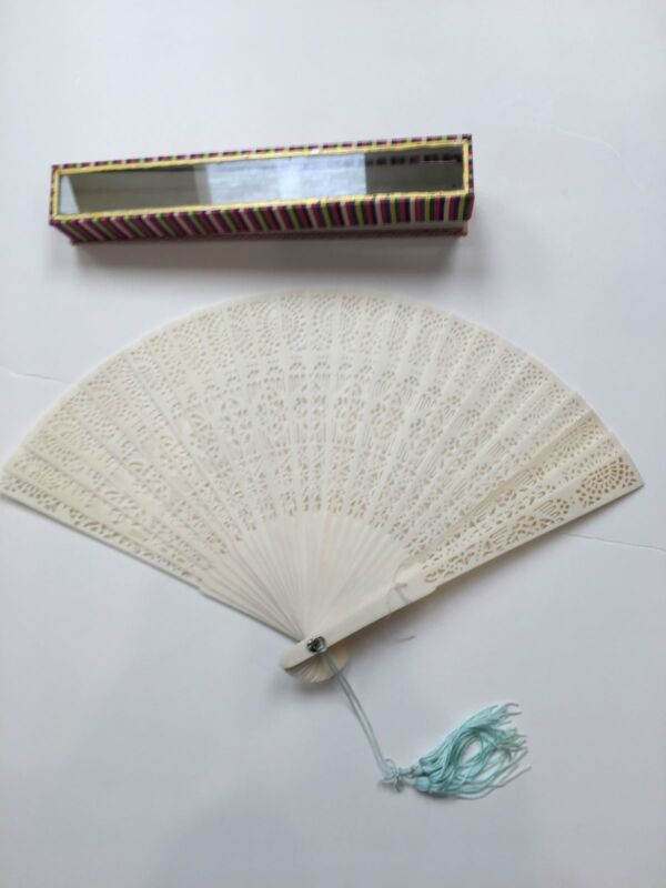 """Japanese Ivory Folding Fan Hand 8.5"""" in decorative glass front case"""