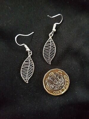 Fallen Leaf Tree Earrings Tibetan Silver Spiritual Buddha Yoga Meditation