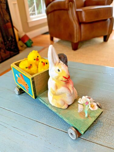 Putz Easter Rabbit On A Pull Toy Platform Germany German Antique Toy With Chicks