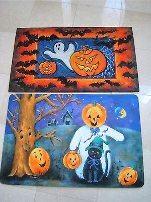 SET OF 2 ADORABLE HALLOWEEN DOOR MATS WITH GHOSTS, PUMPKINS & MORE - Halloween Door Mats