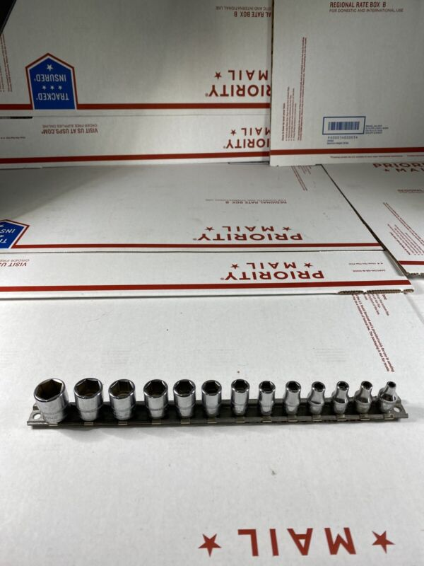 "Snap On 13pc 1/4"" Dr. 6-pt Shallow Metric Socket Set (4-15mm) W 5.5 112TMMY New"