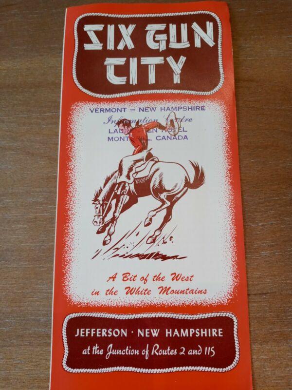 Vintage Six Gun City Jefferson New Hampshire Brochure