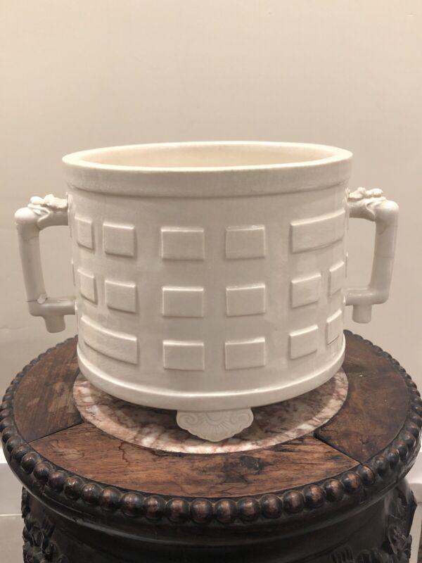 Chinese Antique Taoist Resolve Tripod Censer  White Porcelain Ding Wear