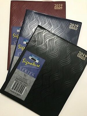 2019 Weekly Dated Planner Calendar Agenda Appointment Book 8X10 Black Blue Red