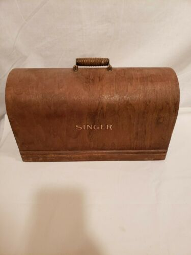 Vintage Wood Singer Machine Cover Case w/ Handle, Dome Shape, Unknown Year