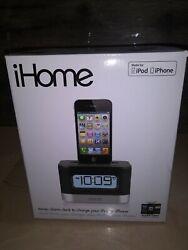 Black iHome IP10 Stereo Alarm Clock Speaker iPod/iPhone Dock Brand New