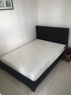 Double Leather Bed Frame & Memory Foam Mattress Mascot Rockdale Area Preview