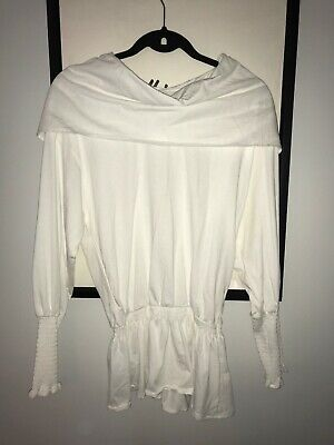 BRAND NEW with TAGS Zara White Cinched Top SHIRT Size S Small $35.90