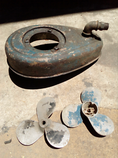 Outboard motor tank, propellers, vintage, seagull