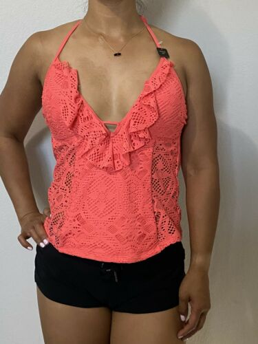 Kenneth Cole Reaction Tankini Swimsuit Top Crochet Padded Push Up Small Coral Clothing, Shoes & Accessories