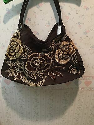 Bamboo 54 Bamboo Bag (Bamboo 54 Embroidered Hobo Bag - Brown Tan Floral -)