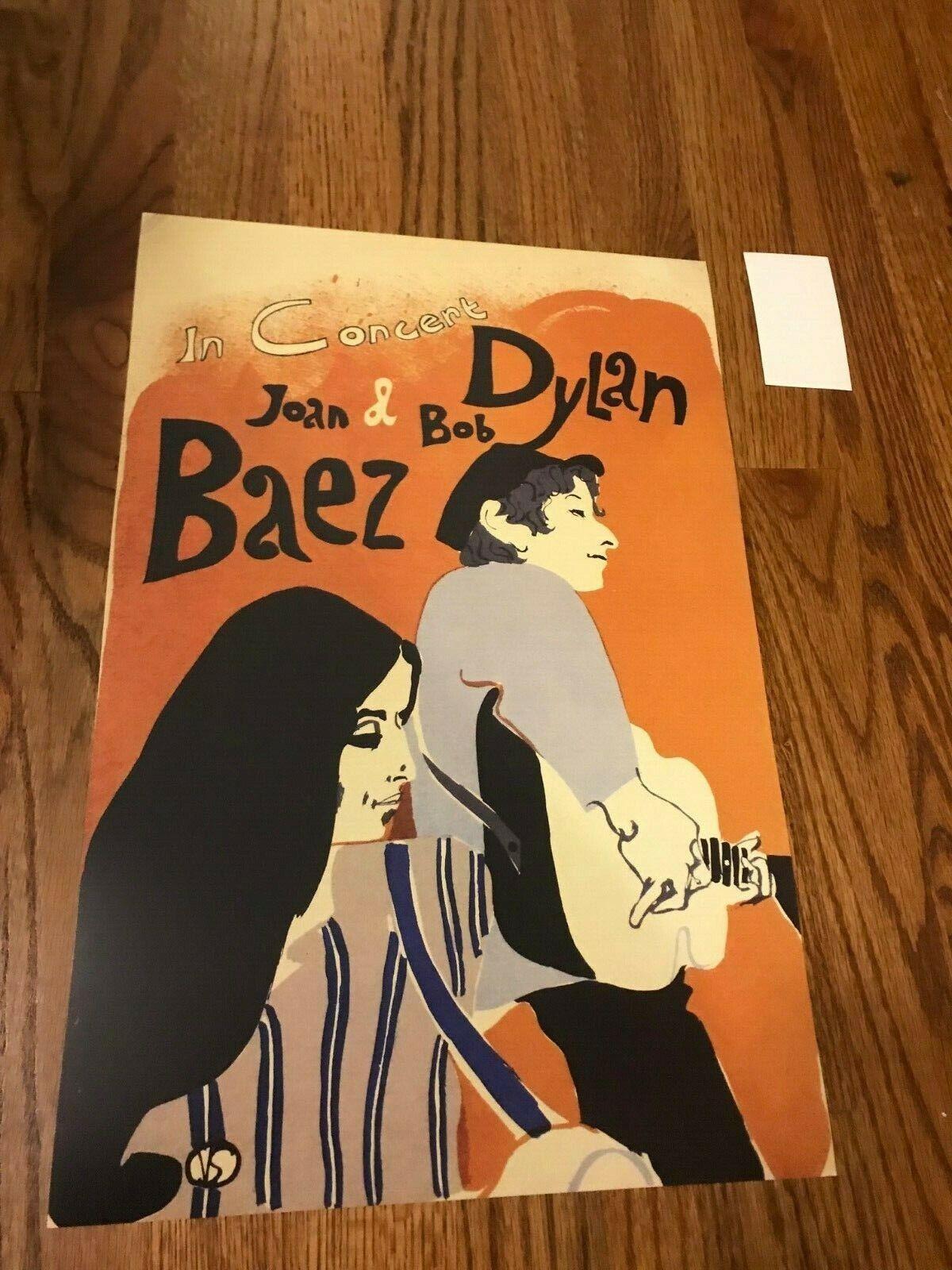 Bob Dylan Joan Baez 1965 Tour Cardstock Concert Poster Reprint 12 X 18  - $9.99