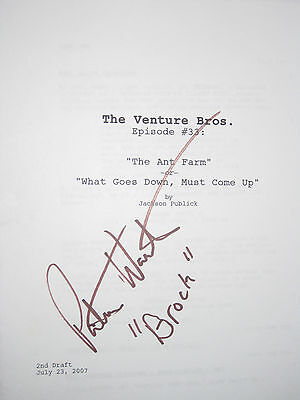 The Venture Brothers Signed TV Script Pat Warburton Cartoon Perfect Cond reprint