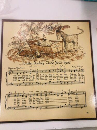 Vintage Margaret Wise Brown Donkey Poem Song Plaque Sign Wall Hanging Nursery