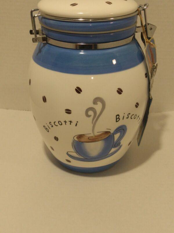 Inspirado Cookie Jar Biscotti Blue White Coffee Cafe Biscuits Snack Kitchen