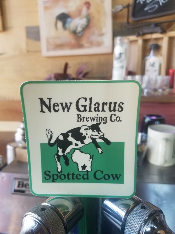 NEW GLARUS BREWING spotted cow WISCONSIN 2.8x3 STICKER craft beer brewery Decal