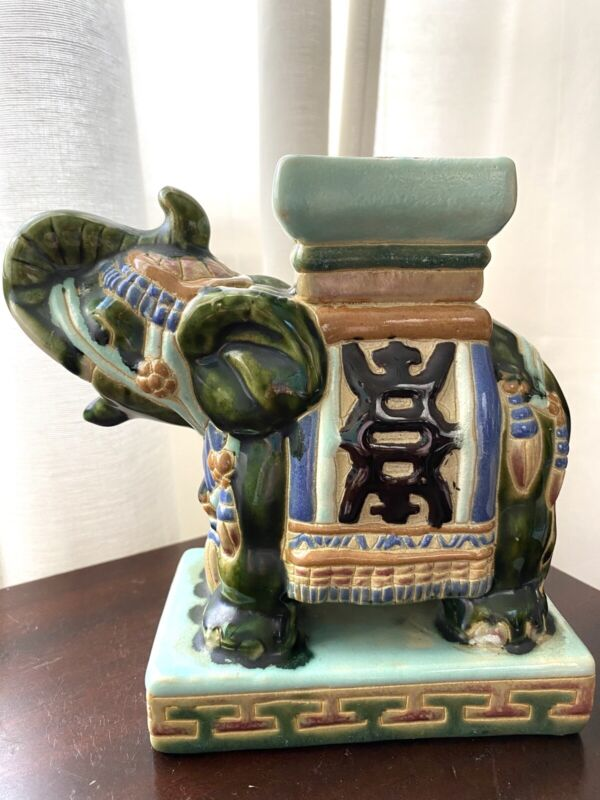 Small Vintage Chinoiserie Elephant Garden Stool Decor Figurine Statue
