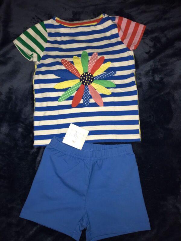 Mini Boden + H.Andersson Girls 6-7 Tee Stripes &Flower & Blue knit Short